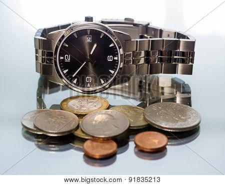 Wrist Watch. Metal Coin.