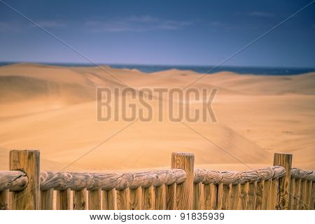 Fence along the sand dunes