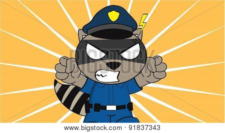 angry raccoon police cartoon background