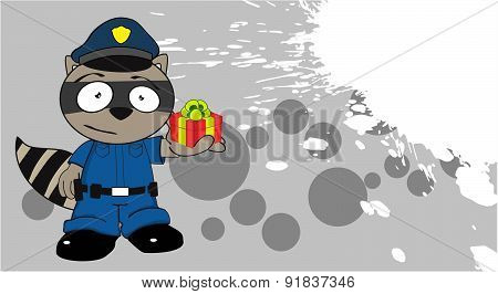 gift raccoon police cartoon background
