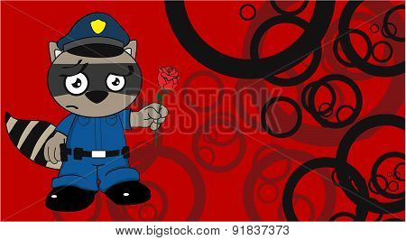rose raccoon police cartoon background