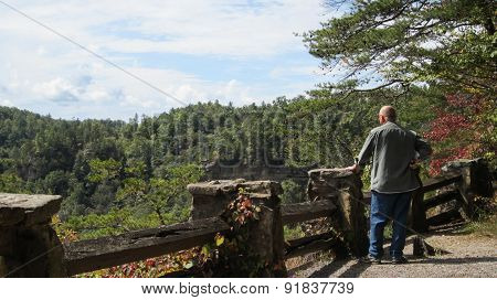 Man resting hand on stone and wood fence while looking at scenic view