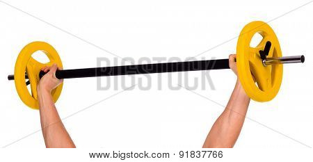 Hands with barbell, isolated on white, copyspace