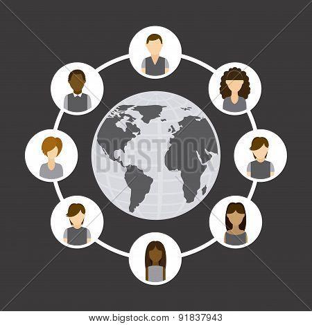 Social network design over gray background vector illustration