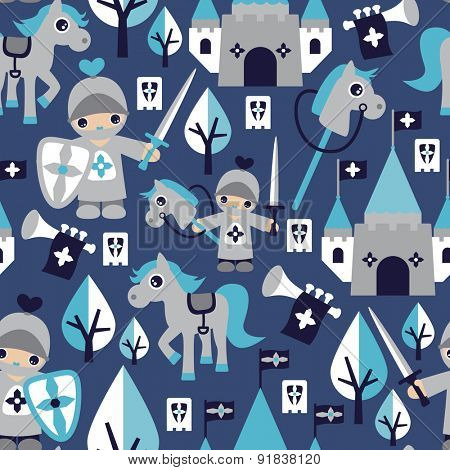 Cute seamless little knight and horse castle prince kids illustration background pattern in vector