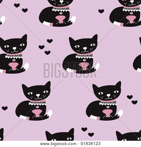 Seamless black and violet adorable kids kitten cat illustration love background pattern in vector