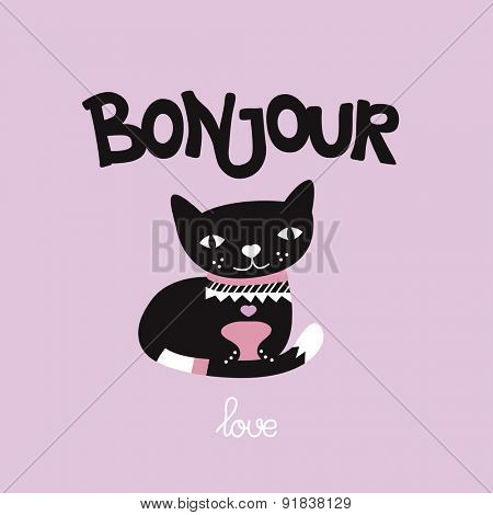 Hello Bonjour sweet cat love postcard illustration template background in vector