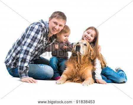 Dad and two daughters  with a big dog  isolated on white background