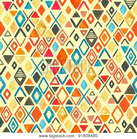 Abstraction seamless watercolor pattern of rhombuses and triangles.