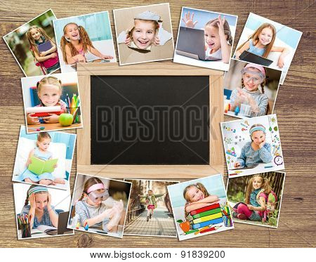 Frame photos of little cute girl with school supplies