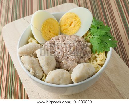 Instant Noodles With Pork, Meat Balls And Boiled Egg