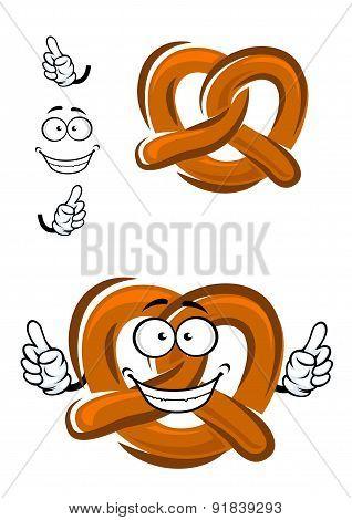 Happy cartoon bavarian crispy pretzel