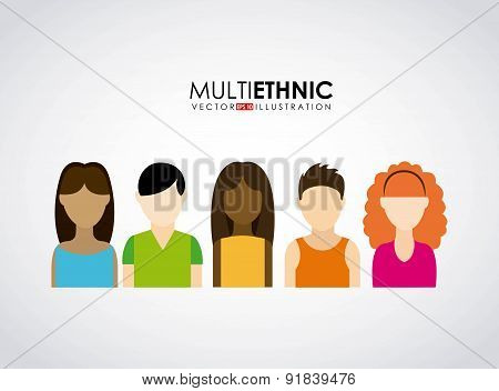 Multiethnic design over gray background vector illustration