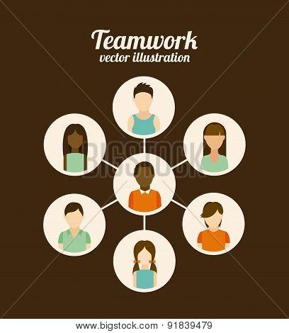 Teamwork design over brown background vector illustration