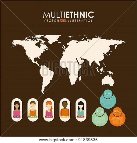 Multiethnic design over brown background vector illustration