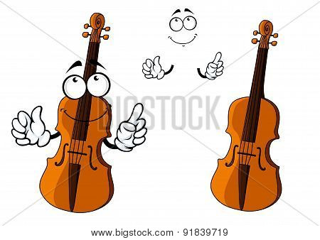 Cartoon smiling brown violin character