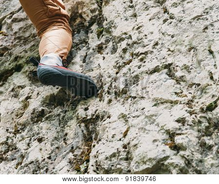 Climber Female Foot On Rock