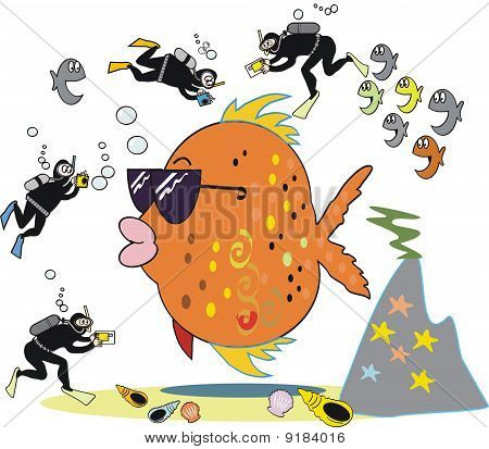 Fish being photographed cartoon