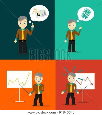 Set of cute cartoon young businessmen. Idea concept and finance report graph. Vector flat design