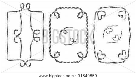 Vector set of decorative rope borders, frames and elements black and white