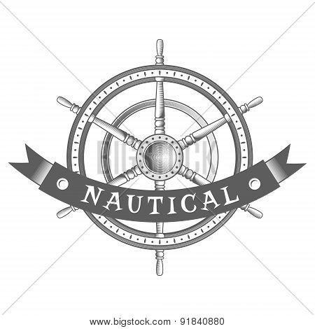 vector nautical label. vintage rudder, icon and design element.