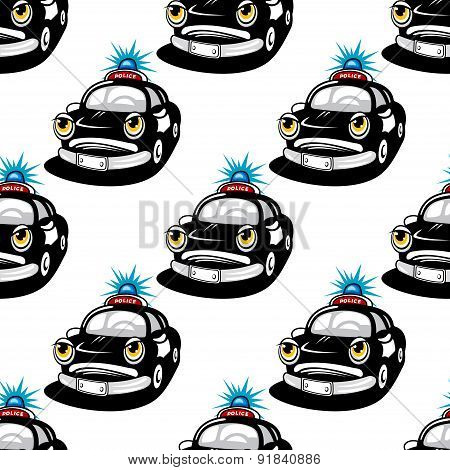 Seamless pattern with police car characters