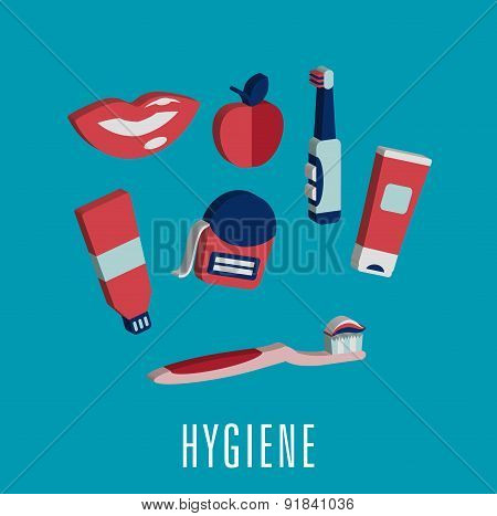 Dental hygiene medical icons in 3D