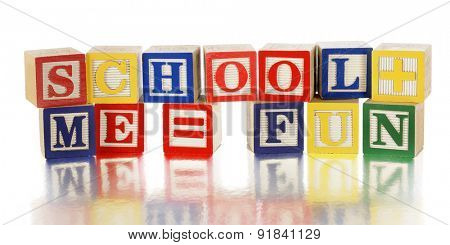 Colorful alphabet blocks arranged to say,