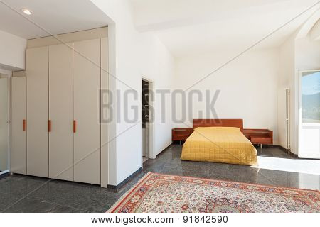 Architecture, apartment furnished, wide bedroom