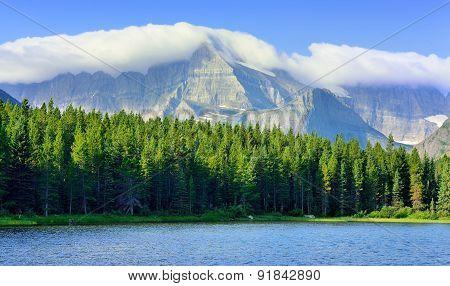 Swiftcurrent Lake In High Alpine Landscape On The Grinnell Glacier Trail, Glacier National Park, Mon