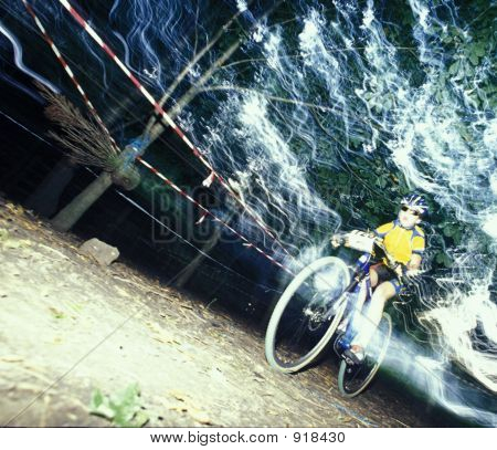 Mountainbike Racer Speed Blur Action