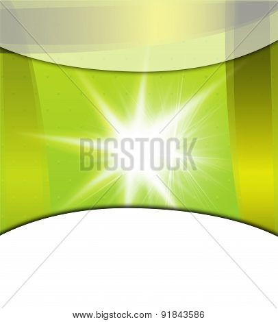 Asymmetric green light burst with the centre in the upper left third, great for spring, nature, or e