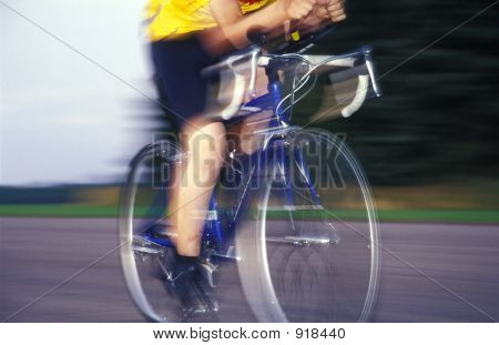 Racer Speeding Past With Blur
