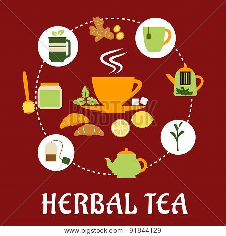 Herbal tea flat infographic design with icons