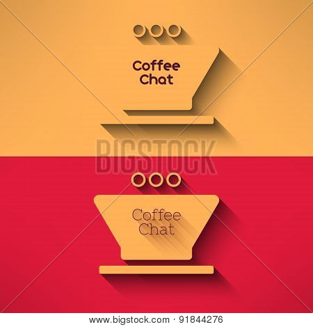 Vector coffee cup made in modern flat design. Cafe chat symbol with long shadow