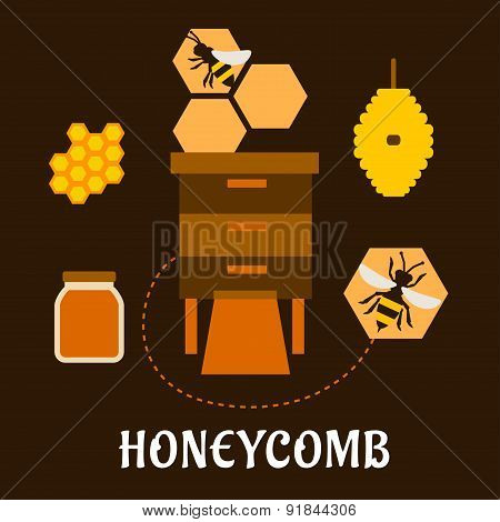 Beekeeping flat infographic with bees and beehives
