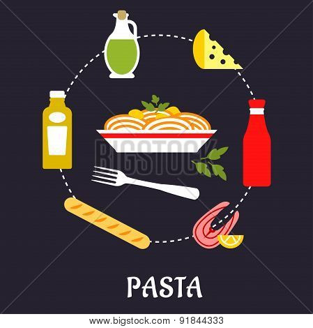 Italian pasta with ingredients flat infographic