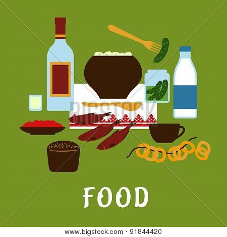 Russian traditional cuisine and food icons