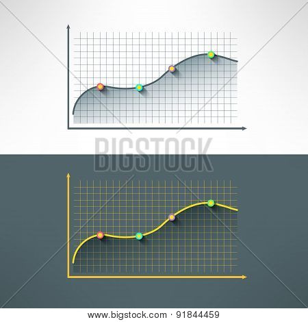 Vector economic finance graphics chart made in modern flat design. Market sale diagram graph with po