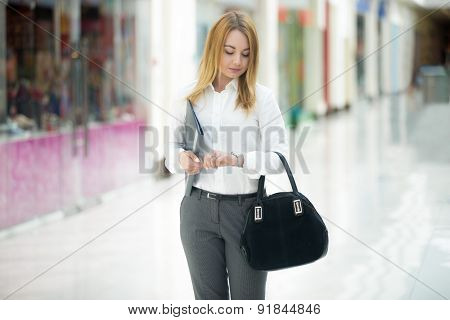 Business Girl Looking At Watch