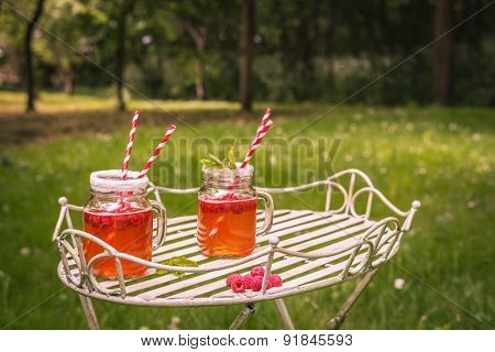 Summer drinks outdoor with vintage tone - plenty of room for copy space