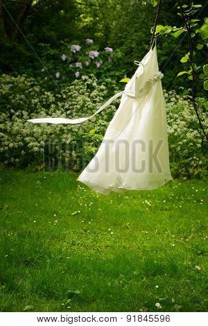 Little girls dress caught in a tree with flowing ribbon belt