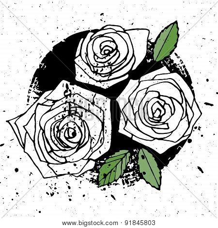 Three Grunge Style Roses