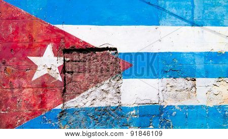 Cuban flag painted on a grunge old wall in Havana
