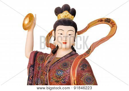 Chinese God On White Background In Chinese Temple , Thailand. Clipping Path.