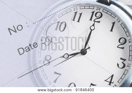 Vintage blue clock face and diary note composite