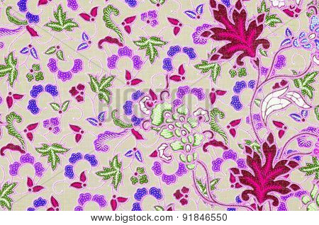 Batik Sarong Pattern Background In Thailand, Traditional Batik Sarong In Asian