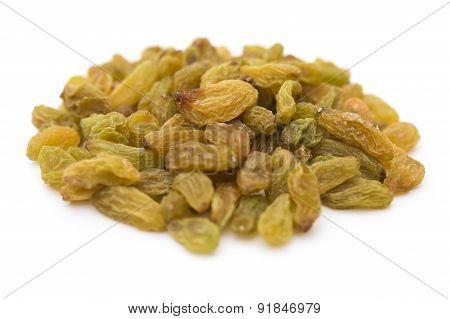 Yellow Raisins On A White Background