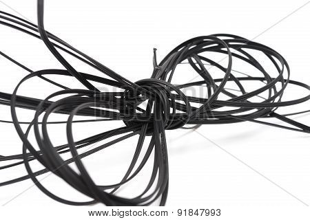 Black Fiber Cable On A White Background