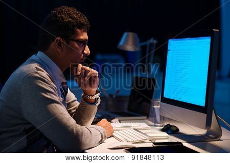 Working in dark office